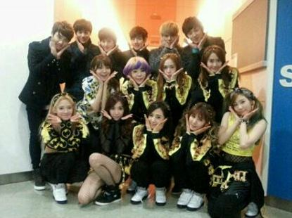 snsd group photo with EXO K and M (1)