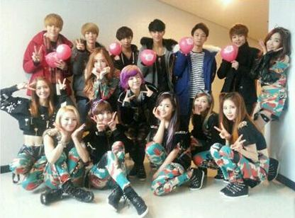 snsd group photo with EXO K and M (2)