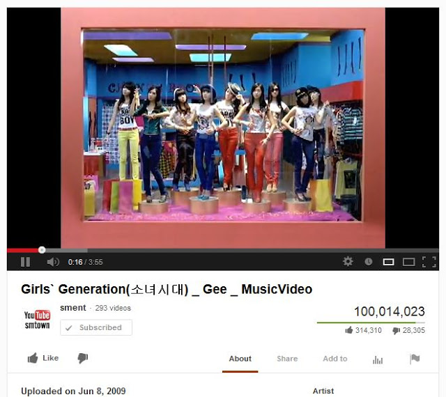 snsd gee music video 100 million views